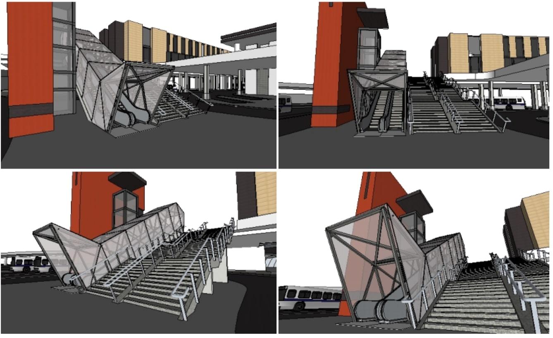 Na wizualizacji już widać działające schody na dworcu w Krakowie. Źródło: ZDMK.