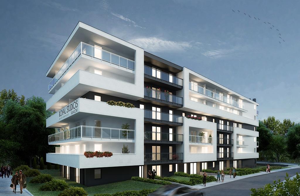 Wizualizacja Royal Studios Smart Apartments Kraków. Źródło: materiały reklamowe dewelopera.