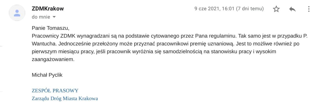 Łukasz Wantuch Zarząd Dróg Miasta Krakowa Premia