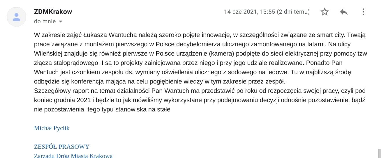 Łukasz Wantuch Zarząd Dróg Miasta Krakowa