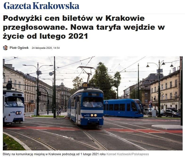Ceny biletów w Krakowie.