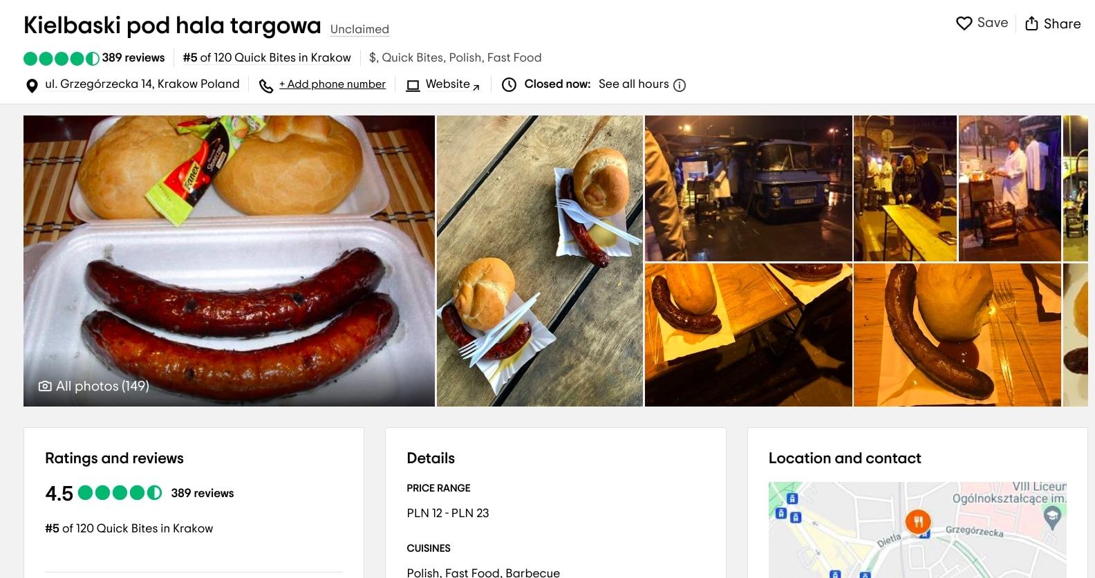Gdzie zjeść w Krakowie tanio i smacznie? Turyści polecają kiełbaski spod Hali Targowej.