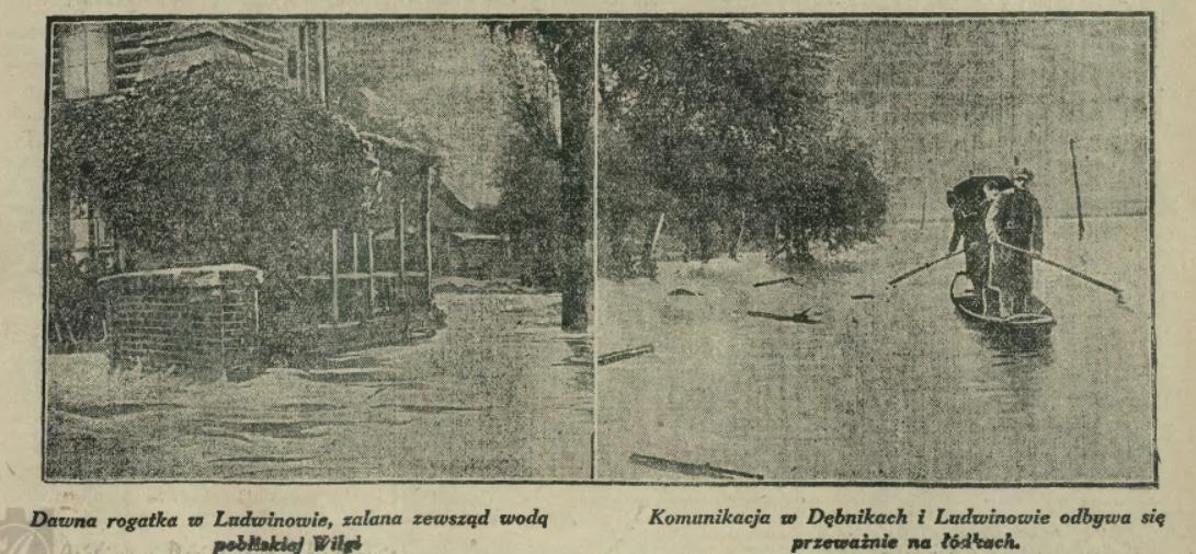 Ilustrowany Kurier Codzienny informował 3. lipca, że w Dębnikach i na Ludwinowie komunikacja odbywa się przeważnie na łódkach. Źródło: IKC/Małopolska Biblioteka Cyfrowa.