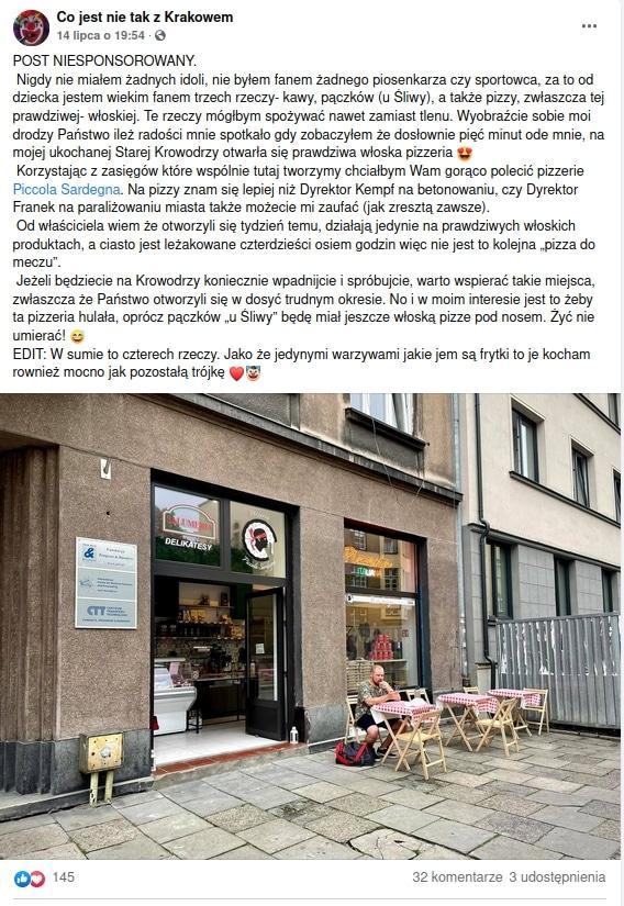 Najlepsza pizza w Krakowie? Piccola Sardegna choć nowa, to już jest polecana.