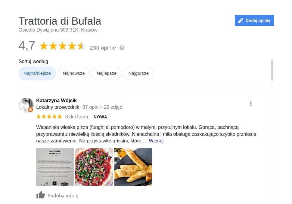 Najlepsze pizzerie w Krakowie? Trattoria di Bufala należy do najlepszych w Nowej Hucie.