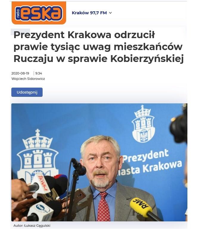 Uwagi. Kobierzyńska. Plan zagospodarowania. Zielona Stolica Europy 2023.