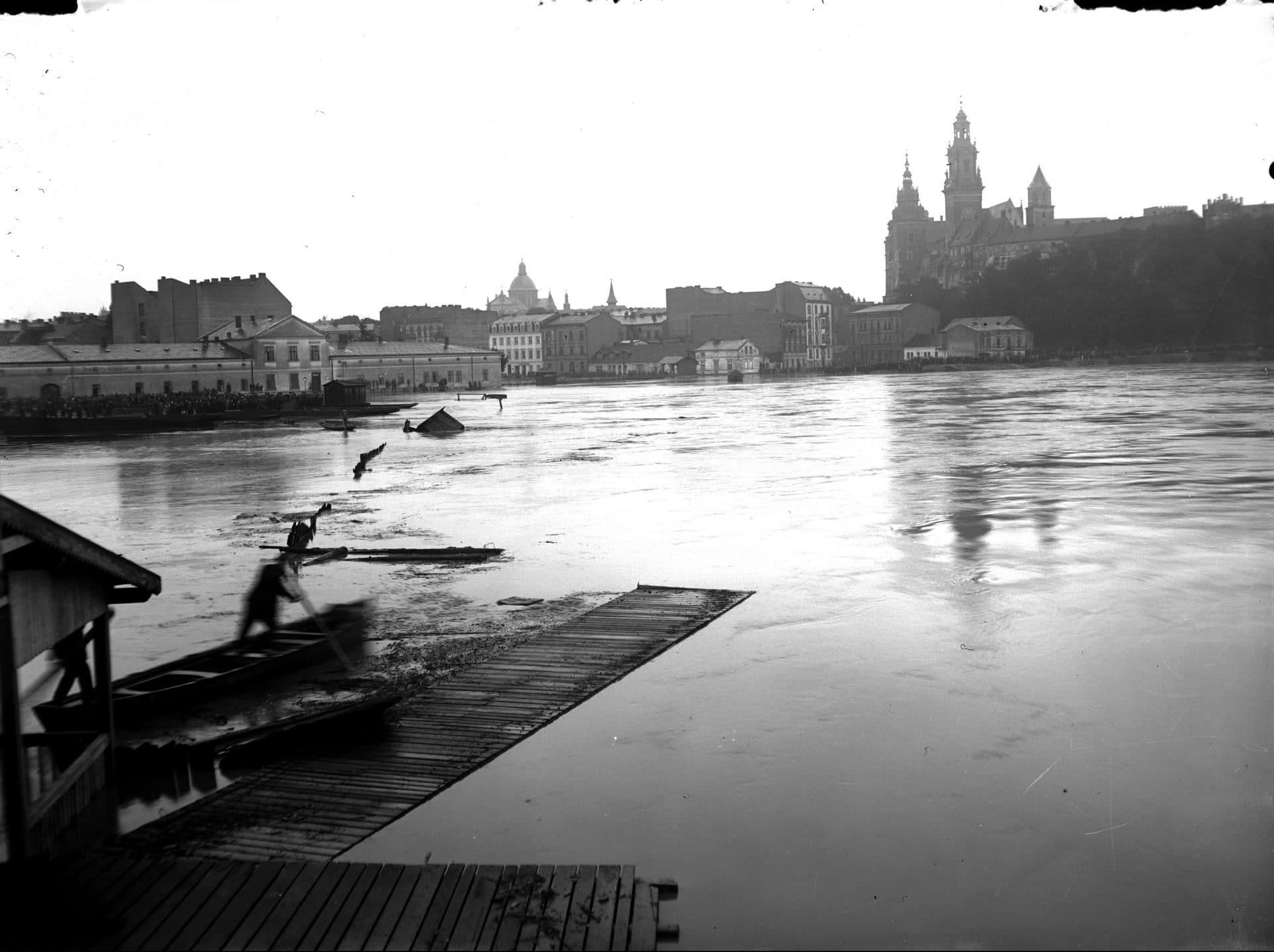 Kraków Powódź 1925 rok Plac na Groblach Wawel Dębniki Most