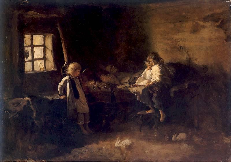 """Obraz Aleksandra Kotsisa """"Matula pomarli"""". Jest często przywoływany jako ilustracja galicyjskiej nędzy."""