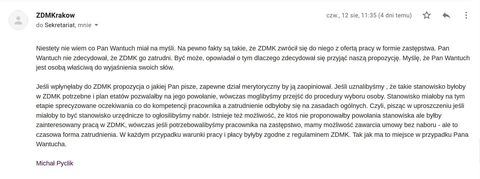Ile można zarobić w Urząd Miasta Krakowa? Zarząd Dróg Miasta Krakowa. Praca Kraków.