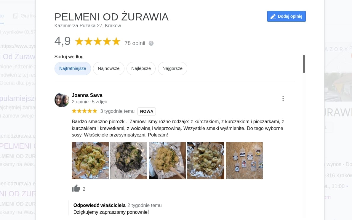 Pelmeni od Żurawia. 4.9 w Google.