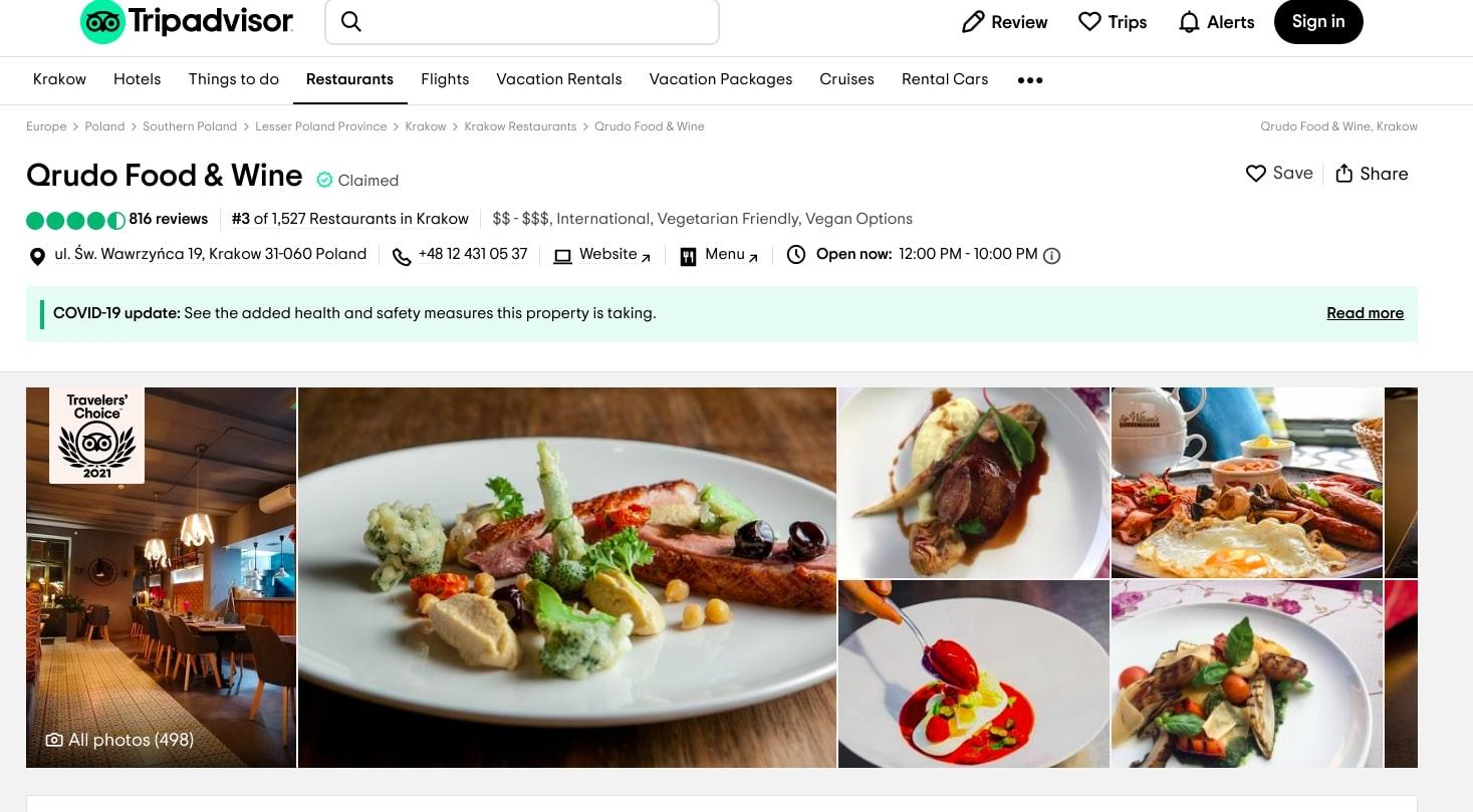 10 najlepszych restauracji w Krakowie Qrudo Food & Wine.