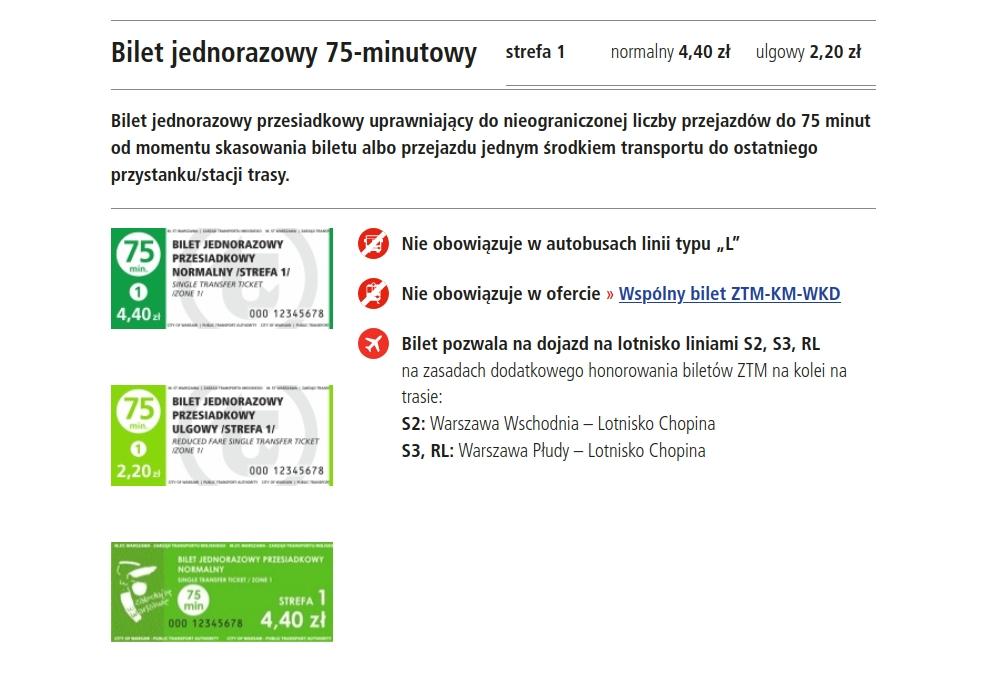Ceny biletów w Warszawie