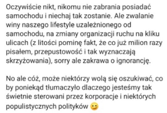 """B dyrektora ZTP - Łukasza Franka. Człowiek prezydenta Majchrowskiego wprost obwinia  mieszkańców za korki w Krakowie, Dodaje też, że narzekają, bo są zmanipulowani przez """"korporacje oraz populistycznych polityków""""."""