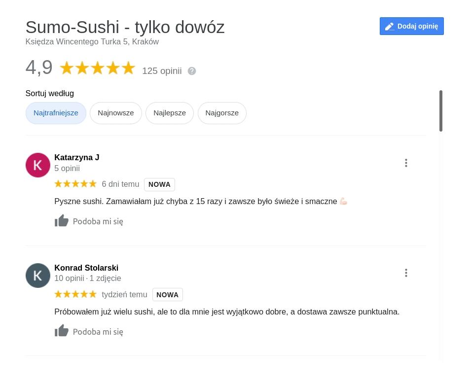 Sushi na dowóz Kraków Podgórze